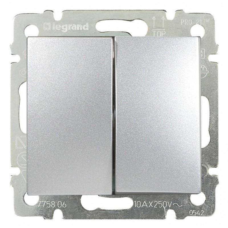 Выключатель 2-х клавишный, алюминий 770105 LG