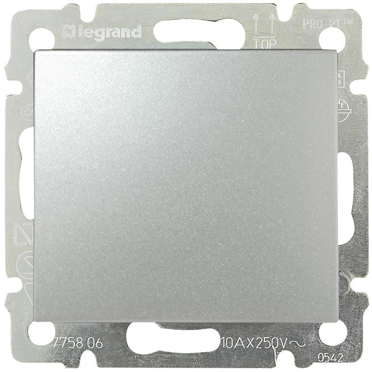 Выключатель 1-но клавишный с 2-х мест (переключатель), алюминий 770106 LG