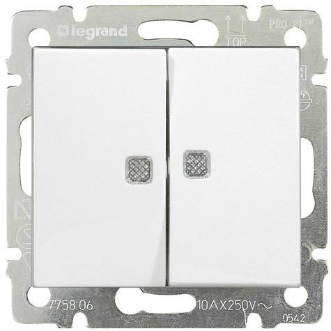 Выключатель 2-х клавишный с 2-х мест (переключатель) с подсветкой, белый 774212 LG